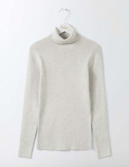 Silver Melange Tilly Roll Neck Jumper