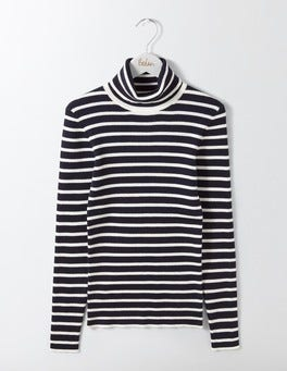 Navy/Ivory Stripe Tilly Roll Neck Jumper