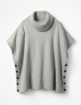 Grey Melange Sarah Roll Neck Poncho