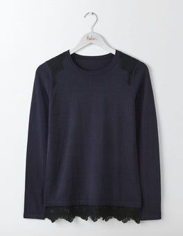 Navy/Black Lace Vanessa Woven Mix Jumper