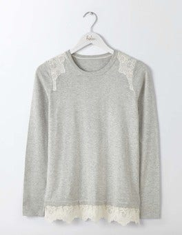 Silver Melange/Ivory Lace Vanessa Woven Mix Jumper