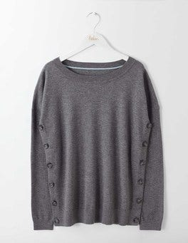 Charcoal Melange Grace Button Sweater