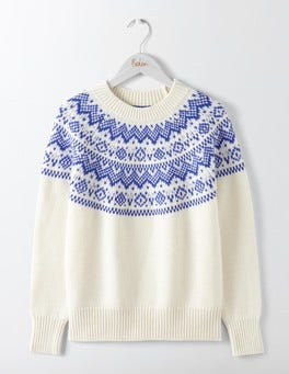 Ivory/Greek Blue Heather Fair Isle Sweater