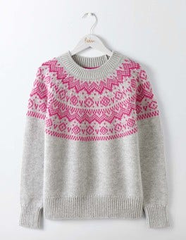 Silver Melange/Party Pink Heather Fair Isle Sweater