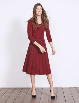 Wine/Navy Placement Jacquard Brooke Floral Dress