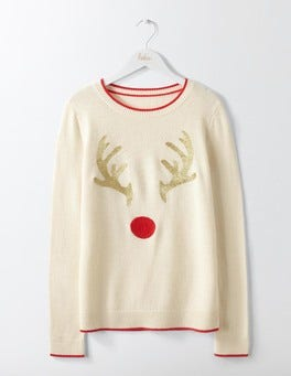 Embroidered Antlers Christmas Jumper
