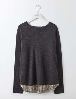 Charcoal Melange/Silver Sequin Lila Sequin Back Jumper