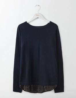 Navy/Black Sequin Lila Sequin Back Jumper