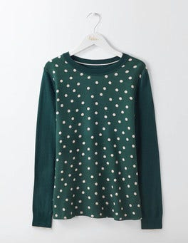 Emerald Night Polka Dot Vivian Woven Mix Jumper