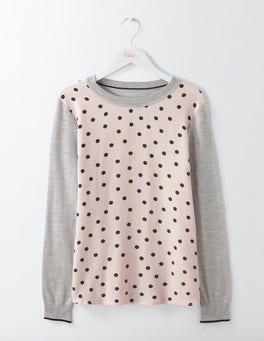 Pink Pearl Navy Polka Dot Vivian Woven Mix Jumper