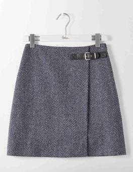 Navy and Ivory Big Herringbone Faye Tweed Kilt