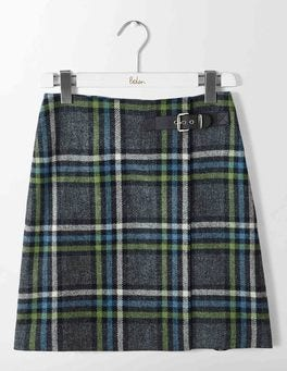 Green and Ocean Ripple Check Faye Tweed Skirt