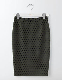 Khaki W/Navy Flocked Spot Freya Pencil Skirt