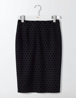 Navy W/Black Flocked Spot Freya Pencil Skirt