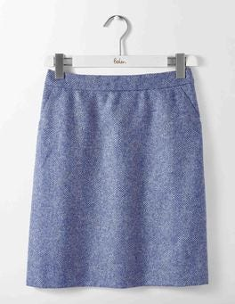 Blue and Ivory Herringbone British Tweed Mini Skirt