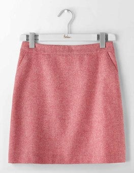 Pink Herringbone British Tweed Mini Skirt