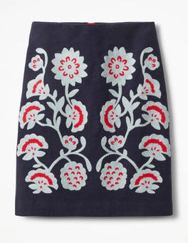 Navy Floral Fenella Embroidered Skirt