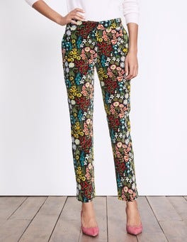 Black Multi Forest Velvet Trousers