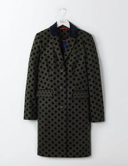 Fell Green with Navy Spot Georgina Coat