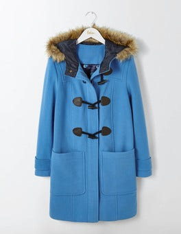 Solstice Blue Wool Duffle Coat