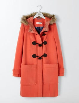 Melon Crush Wool Duffle Coat