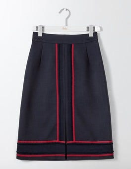 Navy Edith Trim Detail Skirt