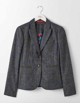 Charcoal and Greek Blue Check Elizabeth British Tweed Blazer