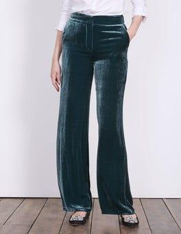 Ink Pot Velvet Wide Leg Trousers