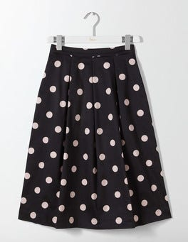 Black Spaced Spot Medium Lola Skirt