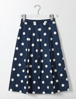 Navy Spaced Spot Medium Lola Skirt
