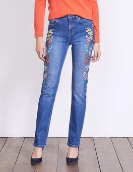 Floral Embroidery Cavendish Girlfriend Jeans