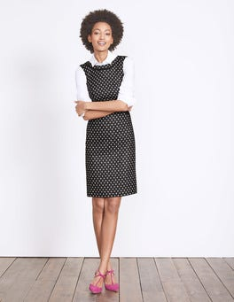 Black with Ivory Spot Deborah Tweed Dress