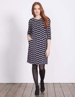 Navy Milkshake Swan Christina Cord Dress