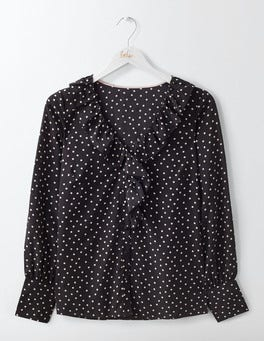 Black Polka Dot Small Pascale Silk Blouse