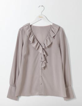 Taupe Pascale Silk Blouse