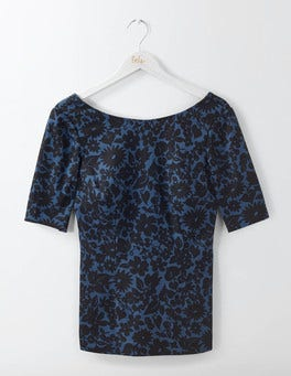 Carbon Blue Shadow Floral Fleur Fitted Top