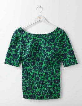 Highland Green Shadow Floral Fleur Fitted Top