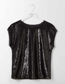 Black Sequin Marcia Top