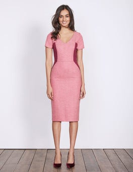 Party Pink Herringbone Olivia Wool Dress