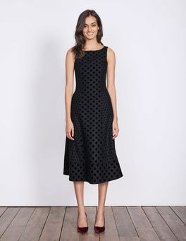 Navy Flock Spot Caitlin Dress