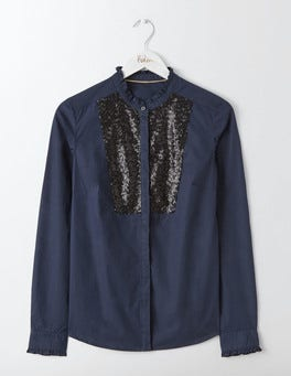 Navy Virginie Sequin Shirt