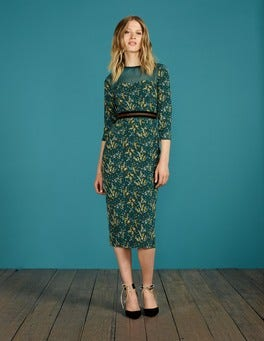 Deep Forest Acacia Small Hettie Fitted Dress