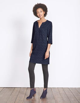 Carbon Blue Evergreen Easy Notch Neck Dress