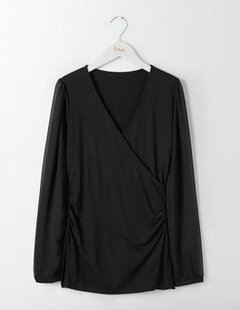 Black Leda Wrap Top