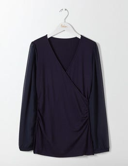 Navy Leda Wrap Top