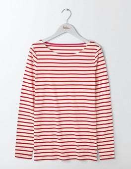 Ivory/Post Box Red Long Sleeve Breton