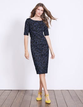Carbon Blue Shadow Floral Fleur Fitted Dress