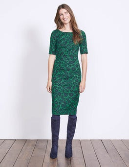 Pixie Green Shadow Floral Fleur Fitted Dress