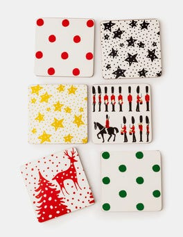 Christmas Print Festive Coaster Set
