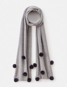 Grey Melange  Pompom Scarf